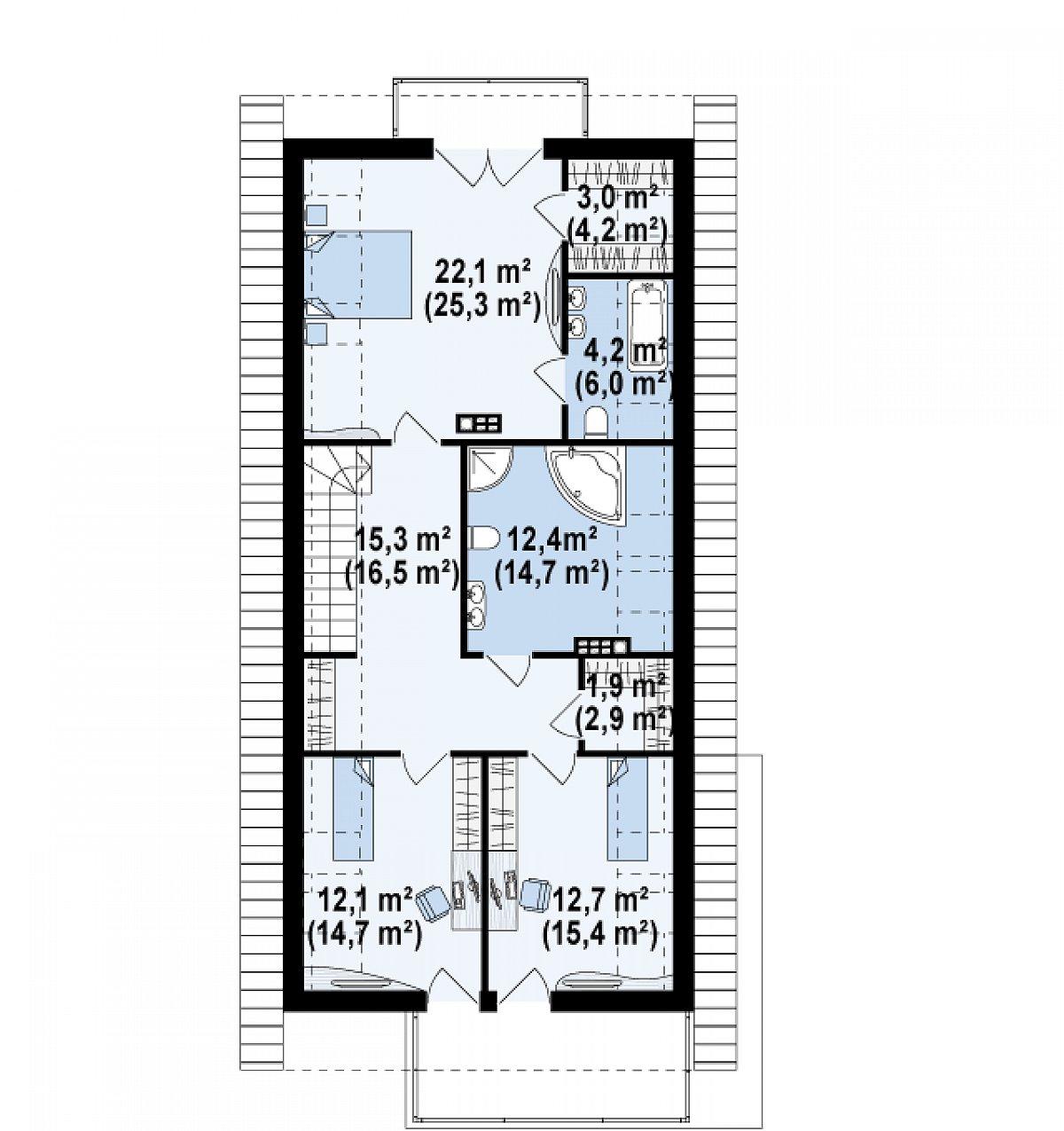Второй этаж 83,7(99,6м²) дома Z294