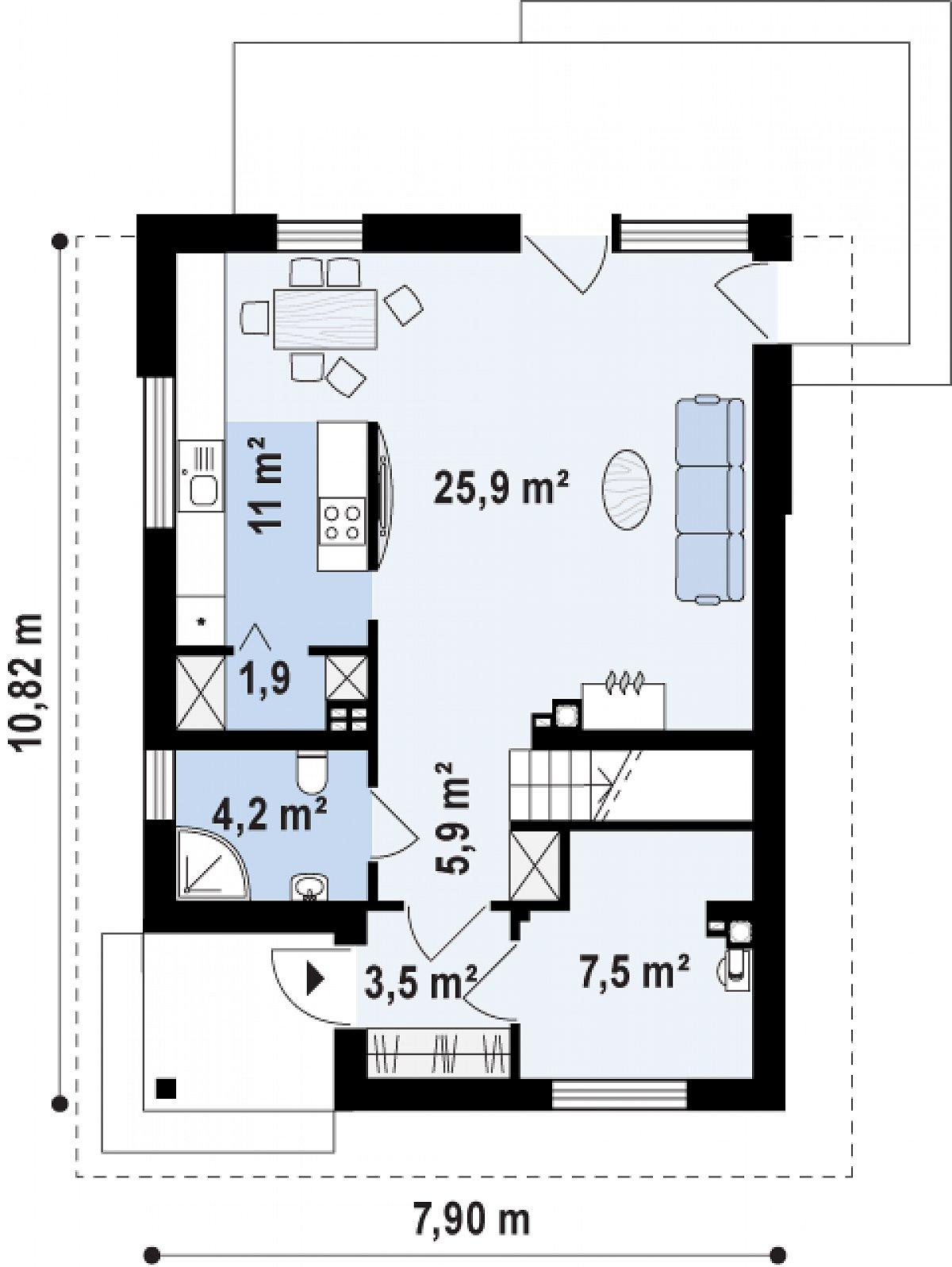 Первый этаж 59,9м² дома Z295 k