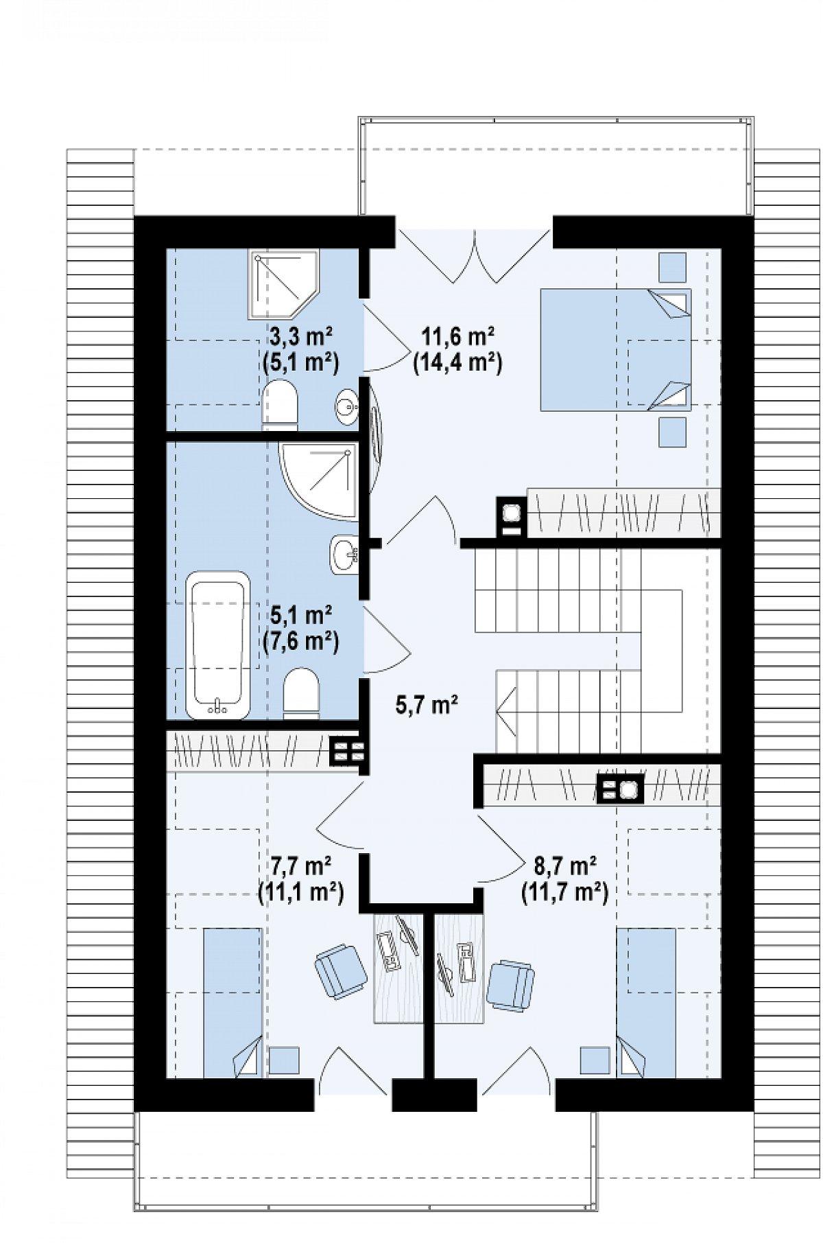 Второй этаж 42,2(55,8м²) дома Z296