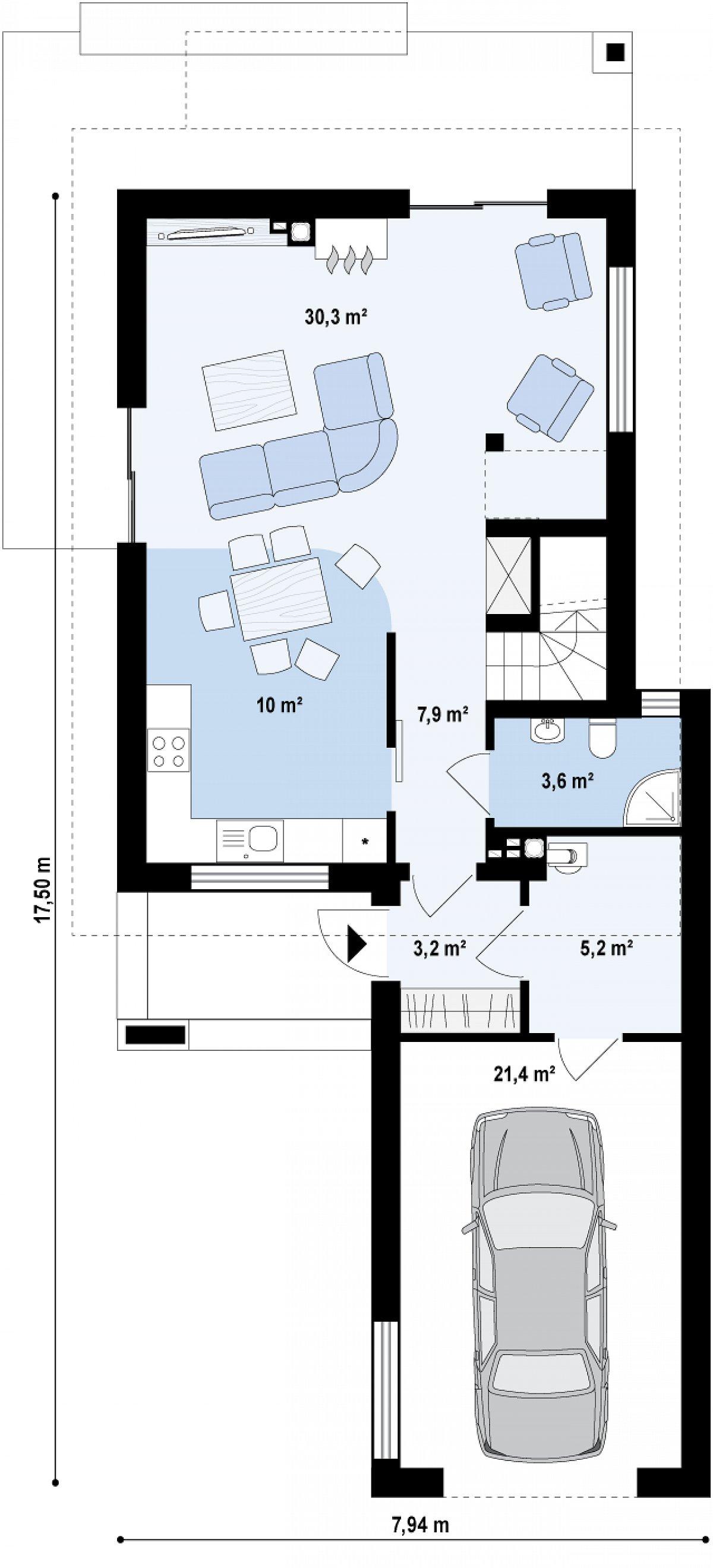 Первый этаж 55,2(81,9м²) дома Z297 GF
