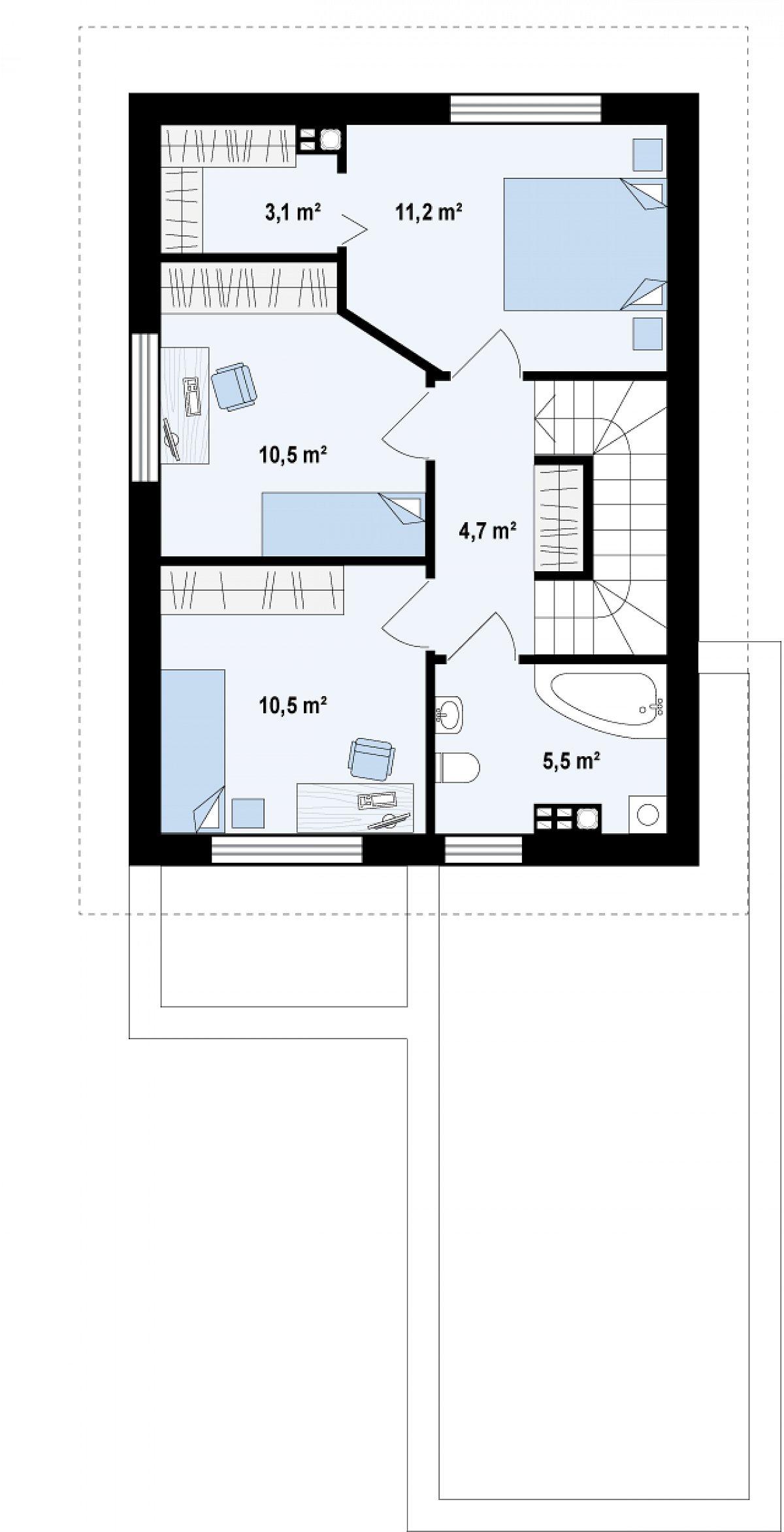 Второй этаж 45,6м² дома Z297 GF
