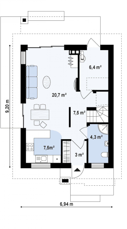 Первый этаж 49,3м² дома Z297
