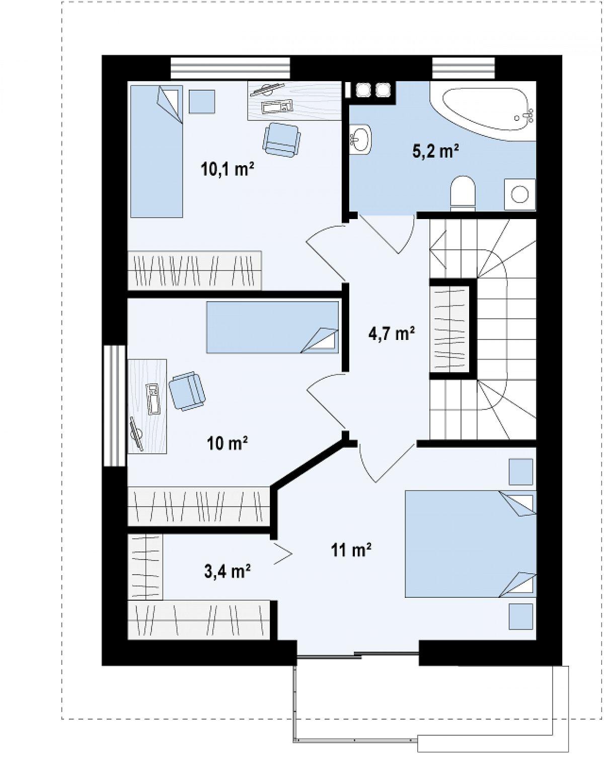 Второй этаж 44,4м² дома Z297