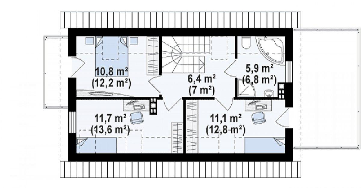 Второй этаж 46,0(52,5м²) дома Z298
