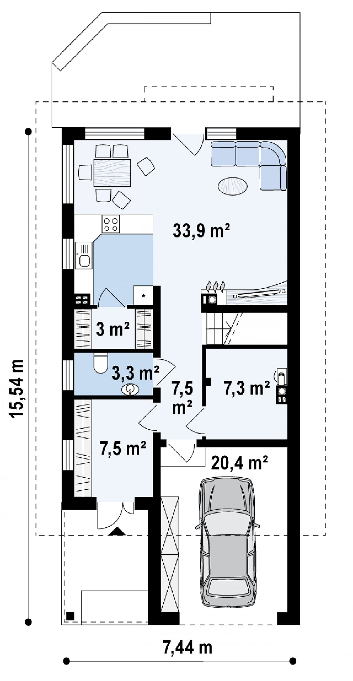 Первый этаж 62,5(82,9м²) дома Z299