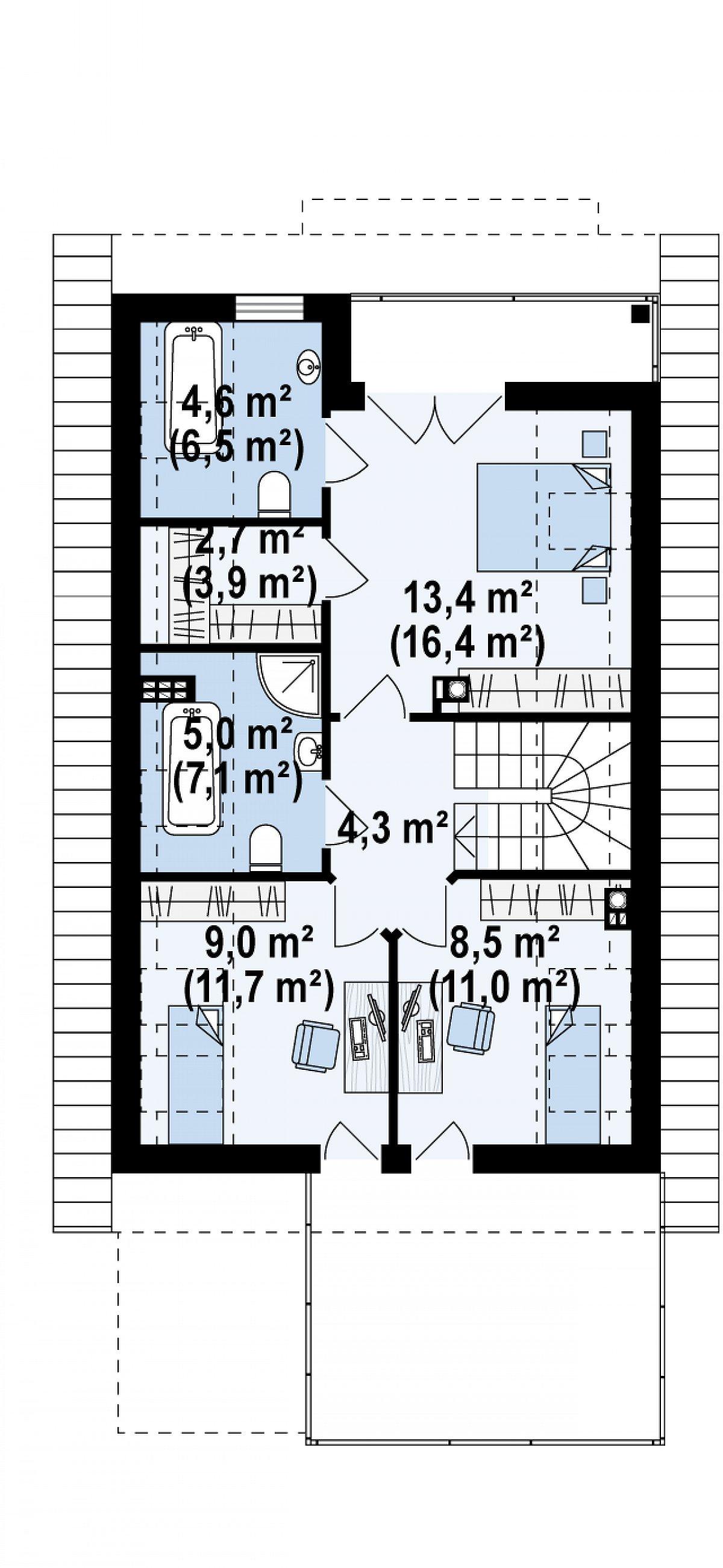 Второй этаж 47,6(60,9м²) дома Z299