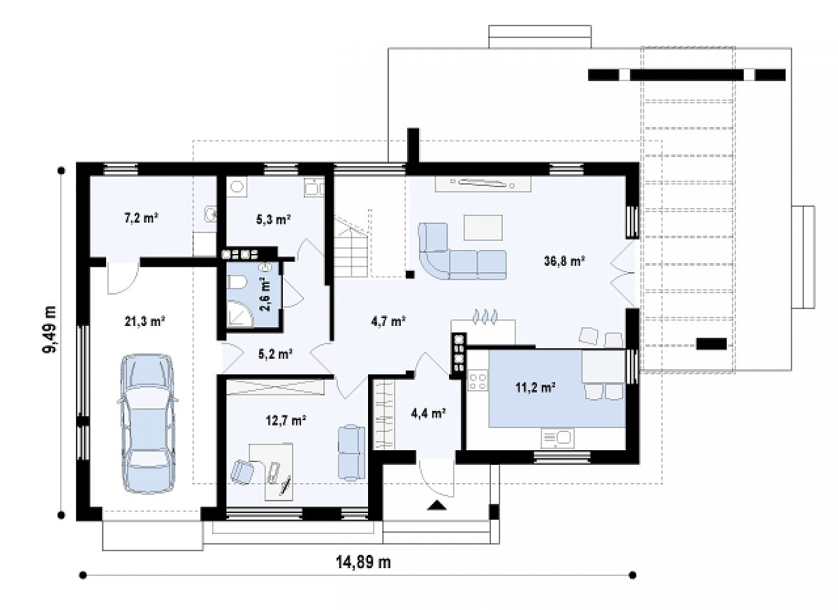 Первый этаж 78,2(106,7м²) дома Z29