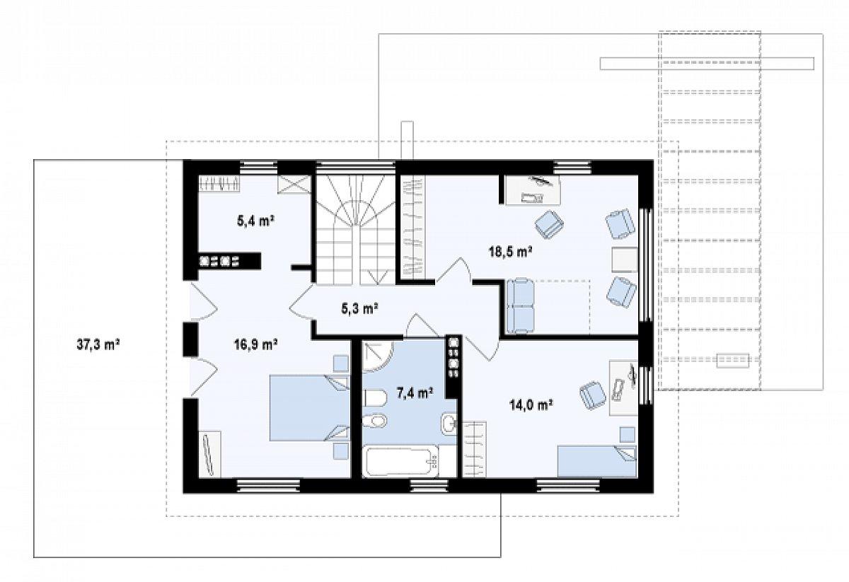 Второй этаж 67,5м² дома Z29