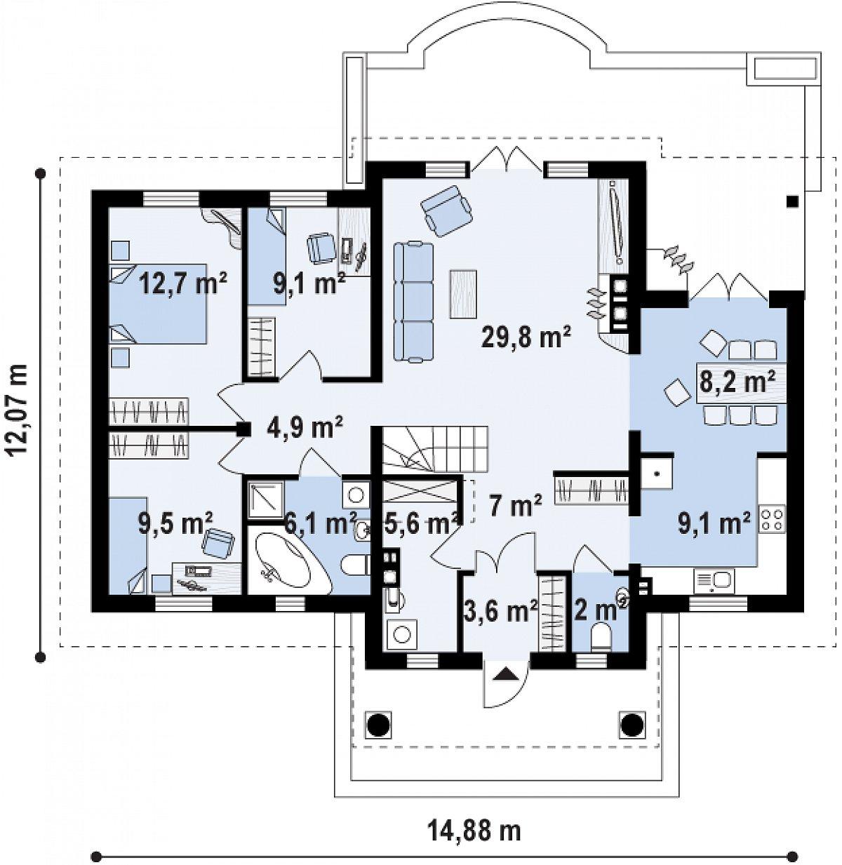Первый этаж 109,1 м² дома Z2