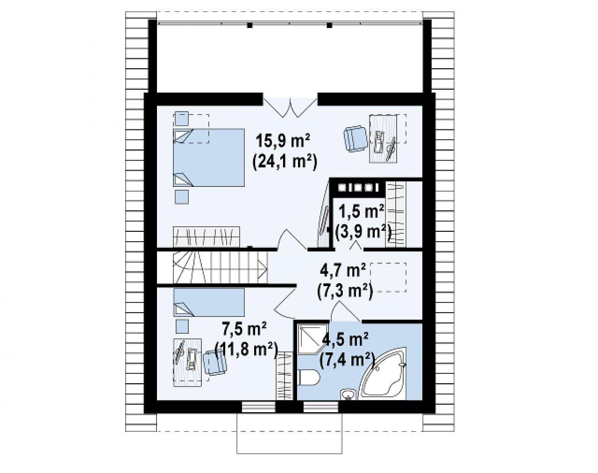 Второй этаж 34,1(55,5м²) дома Z30 L bl