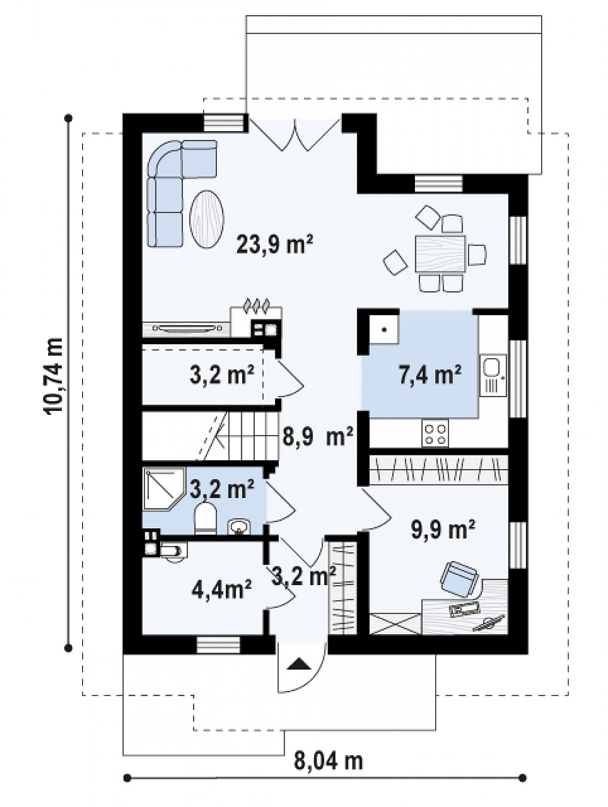 Первый этаж 63,9м² дома Z302