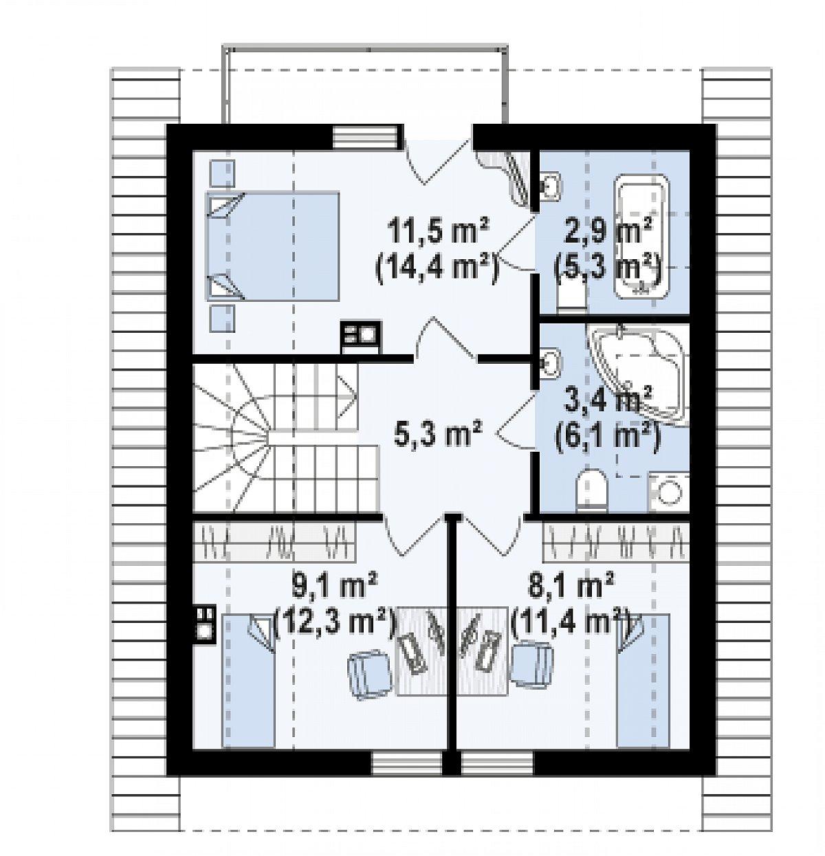 Второй этаж 40,2(55,0м²) дома Z302