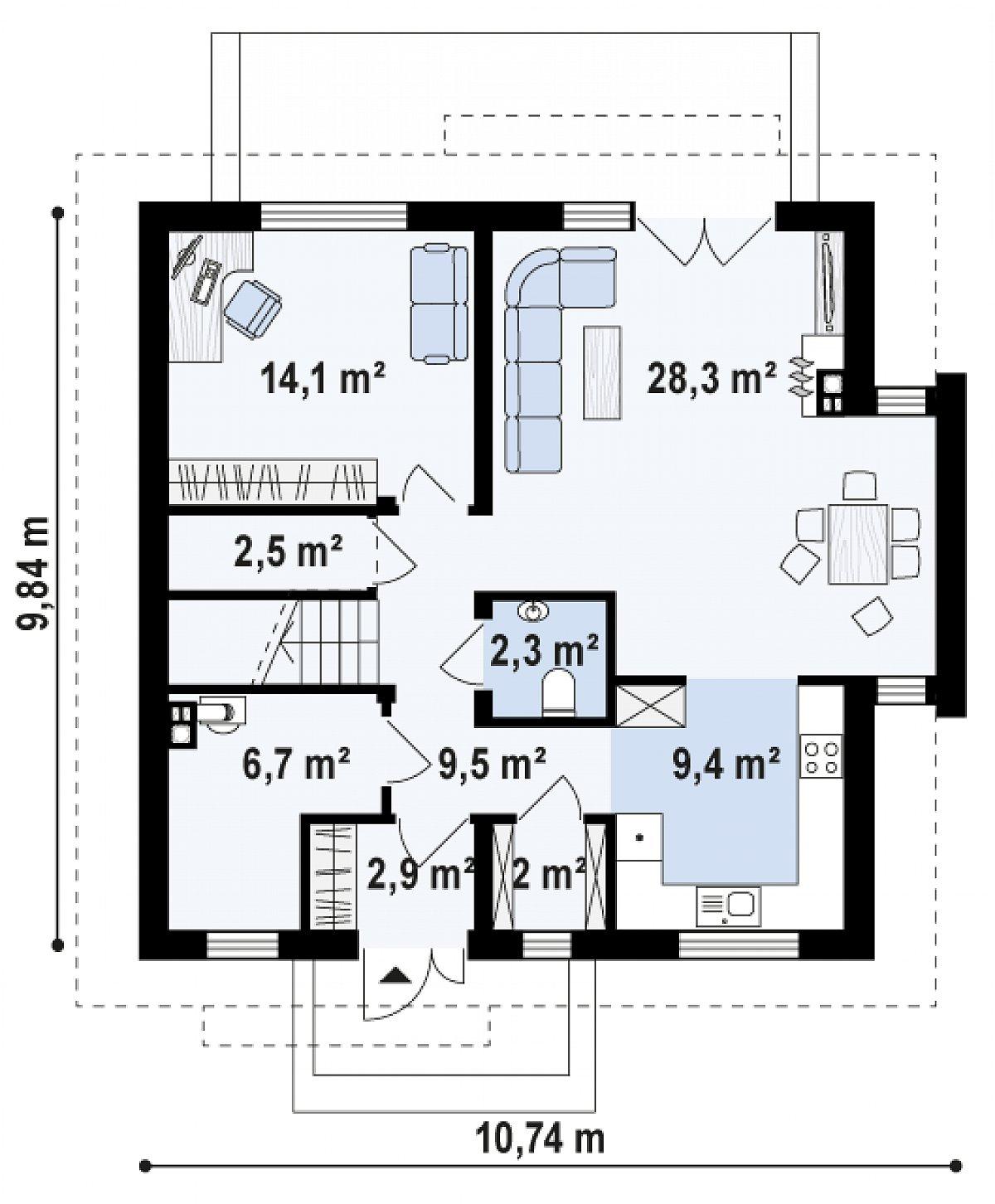 Первый этаж 77,7м² дома Z304