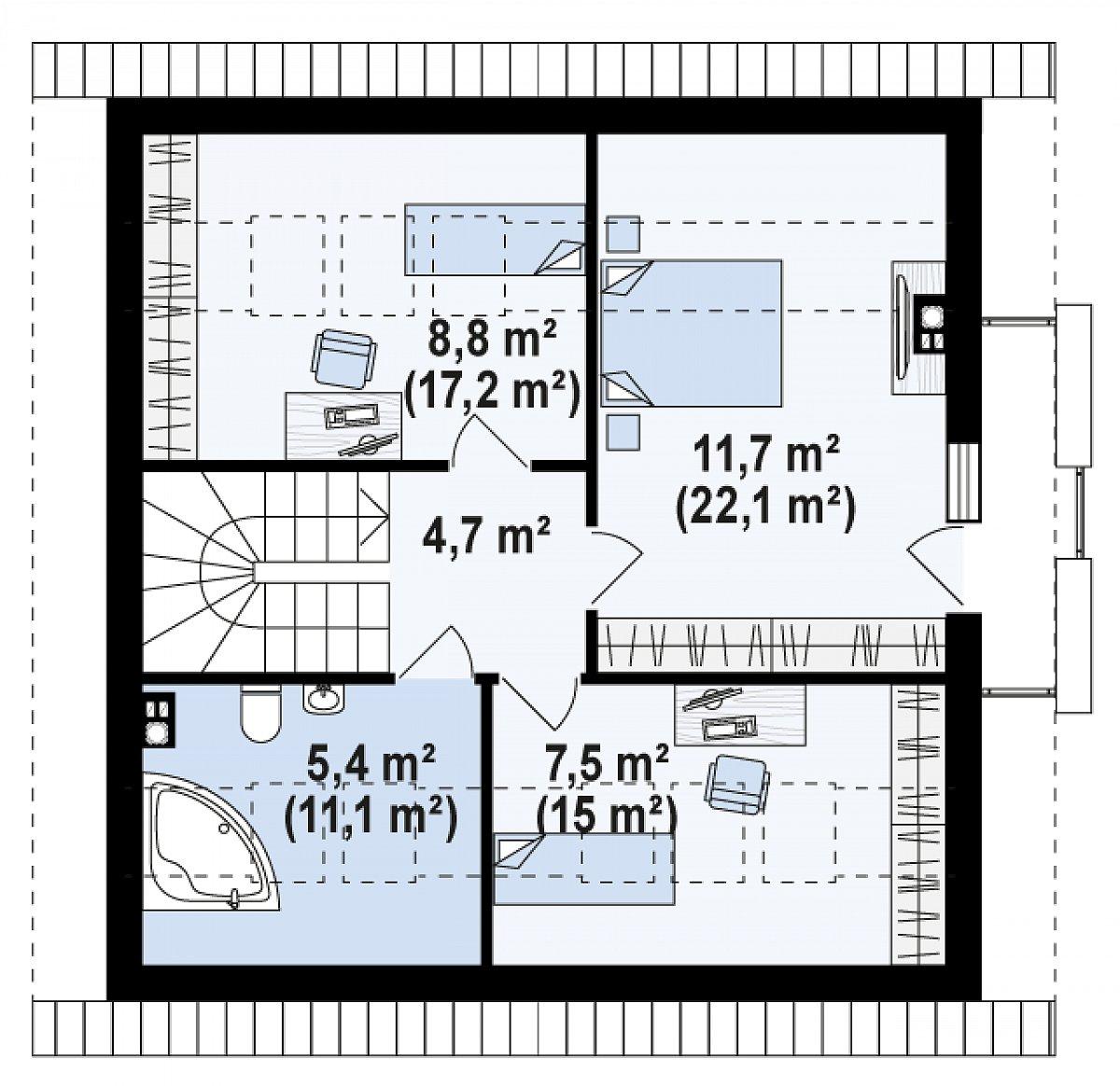 Второй этаж 38,1(70,3м²) дома Z304