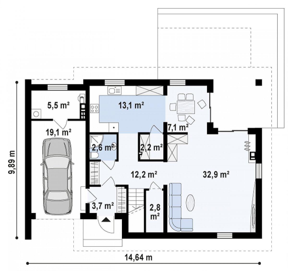 Первый этаж 76,6(101,3м²) дома Z305