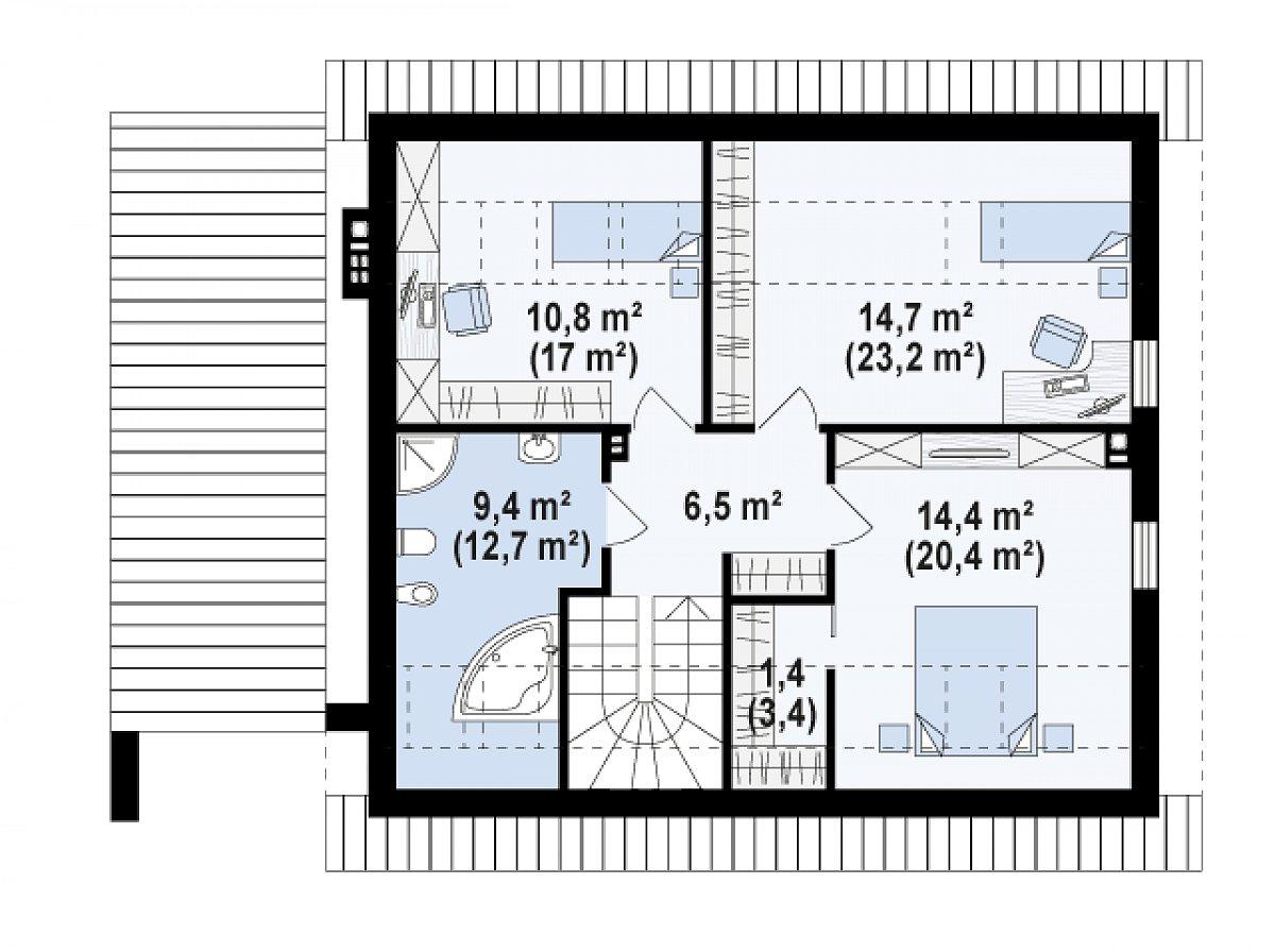 Второй этаж 57,4(83,2м²) дома Z305