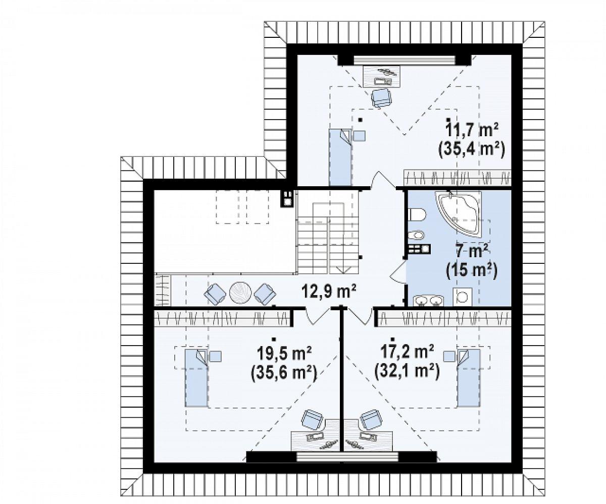 Второй этаж 71,0(133,5м²) дома Z306