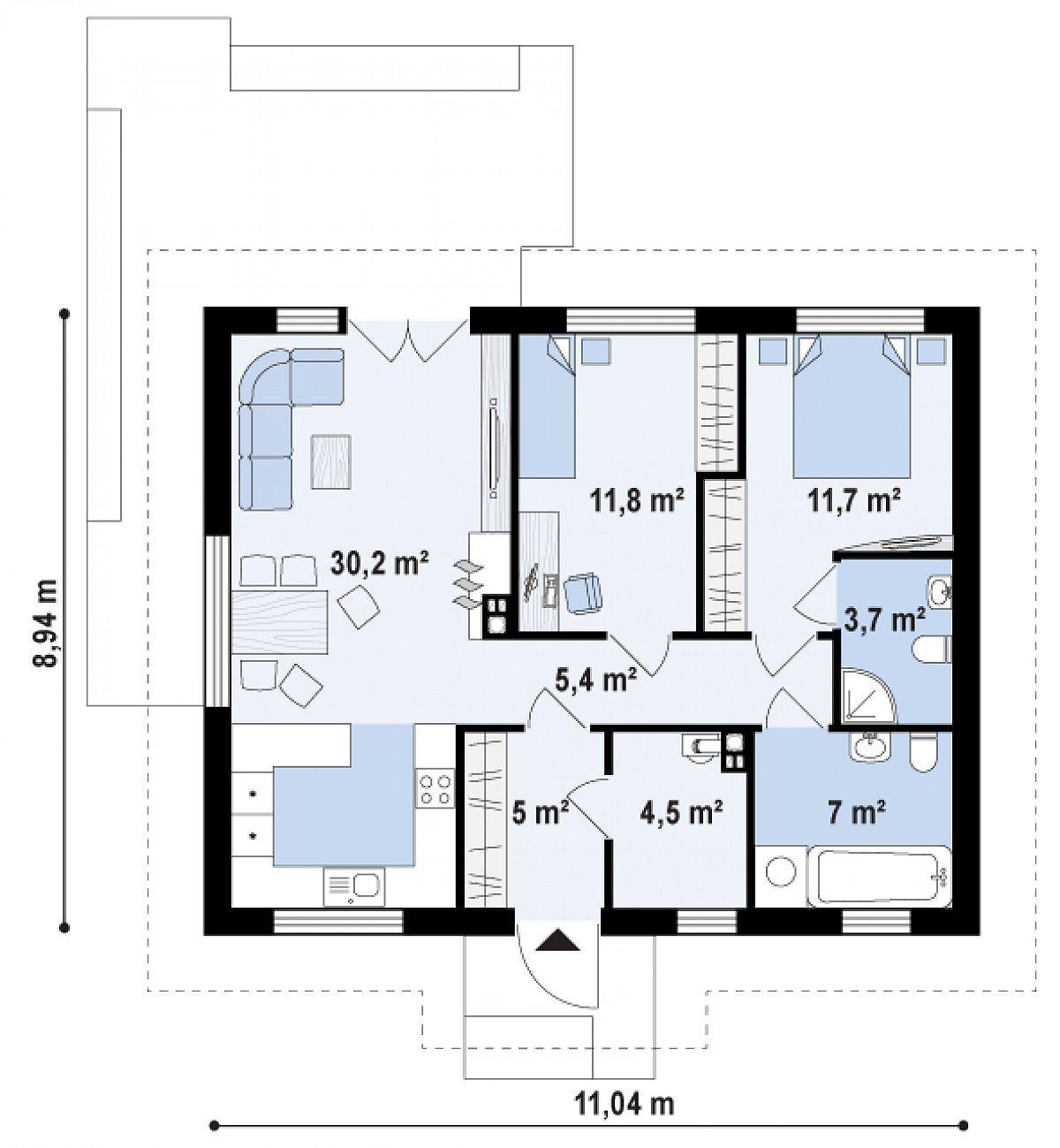 Первый этаж 79,3м² дома Z308