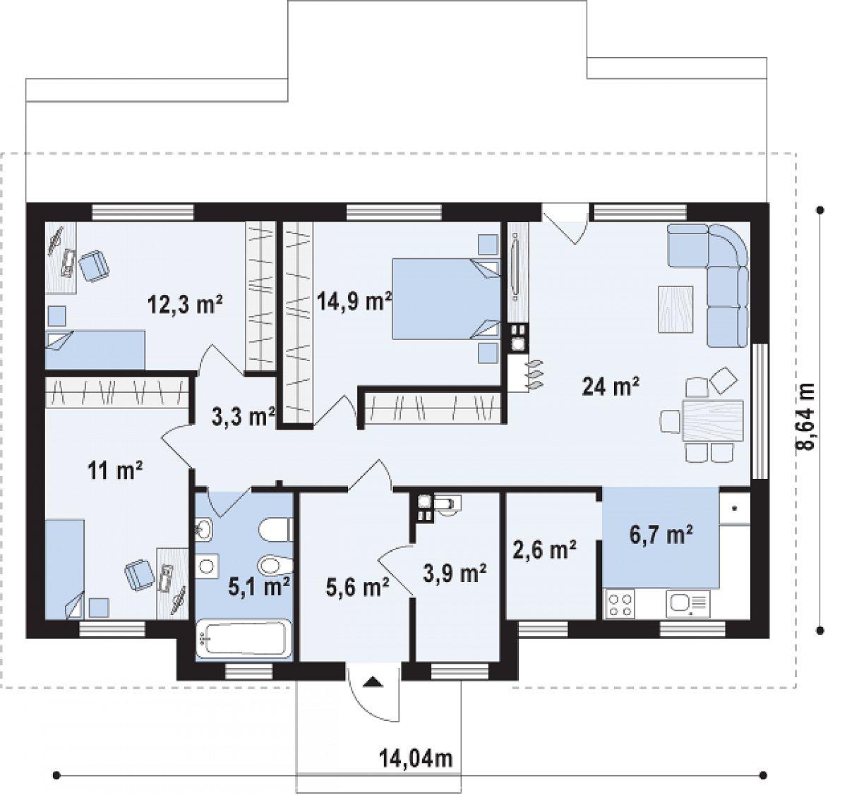 Первый этаж 94,6м² дома Z309