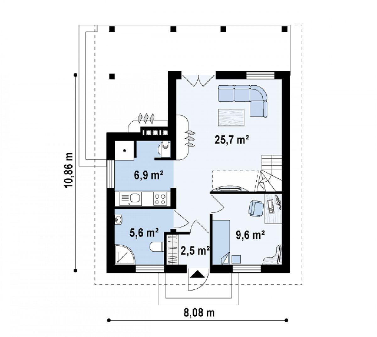 Первый этаж 50,4м² дома Z30