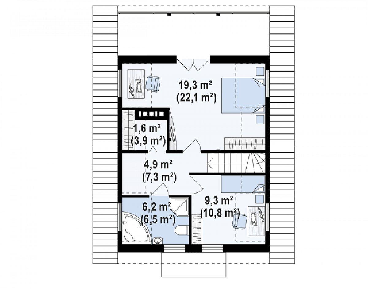 Второй этаж 46,0(57,8м²) дома Z30