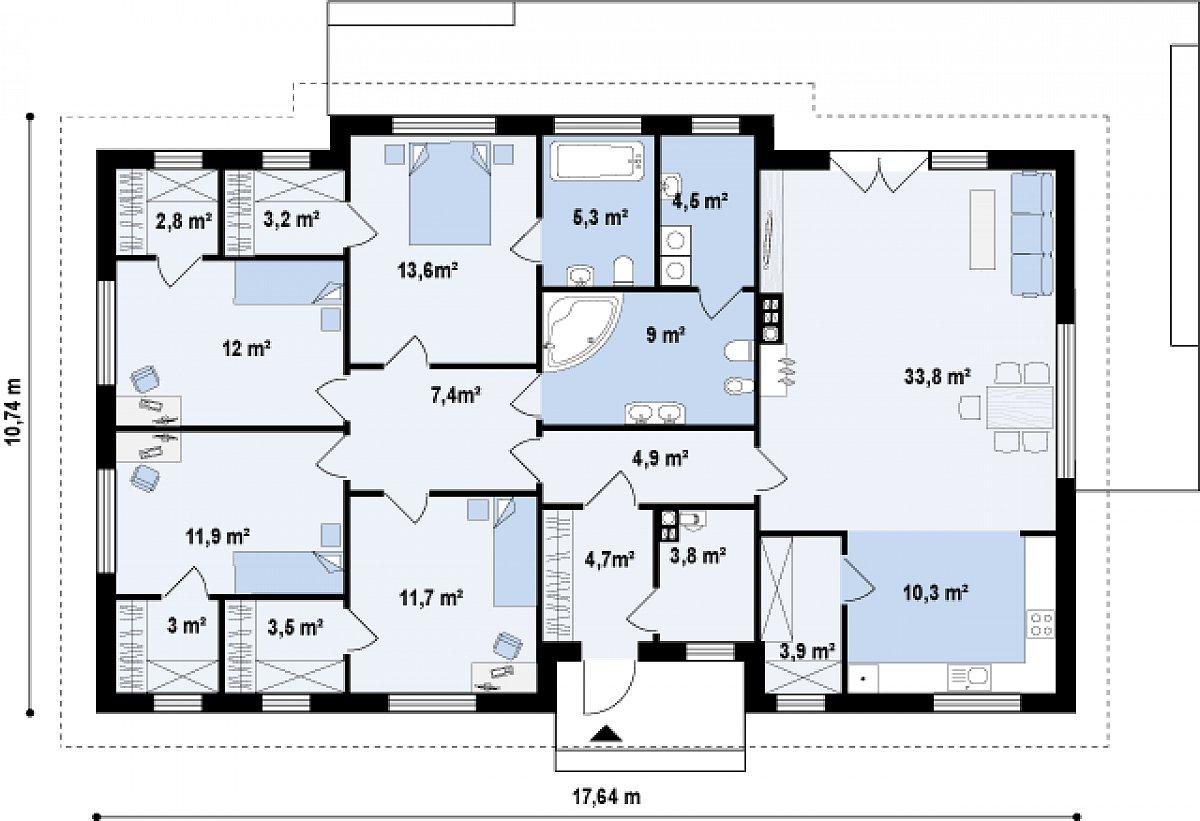Первый этаж 149,1м² дома Z310