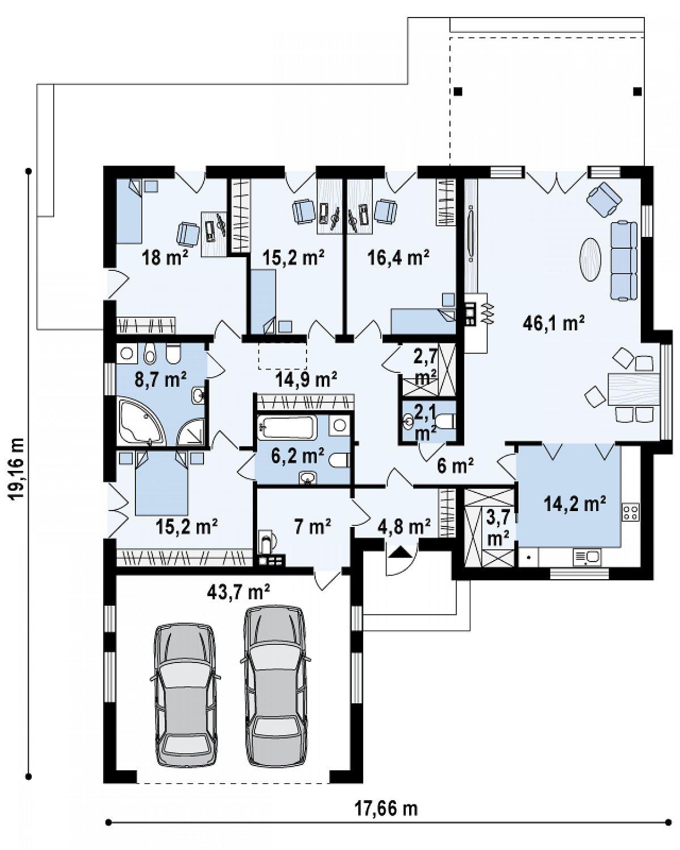 Первый этаж 194,9(201,8м²) дома Z311