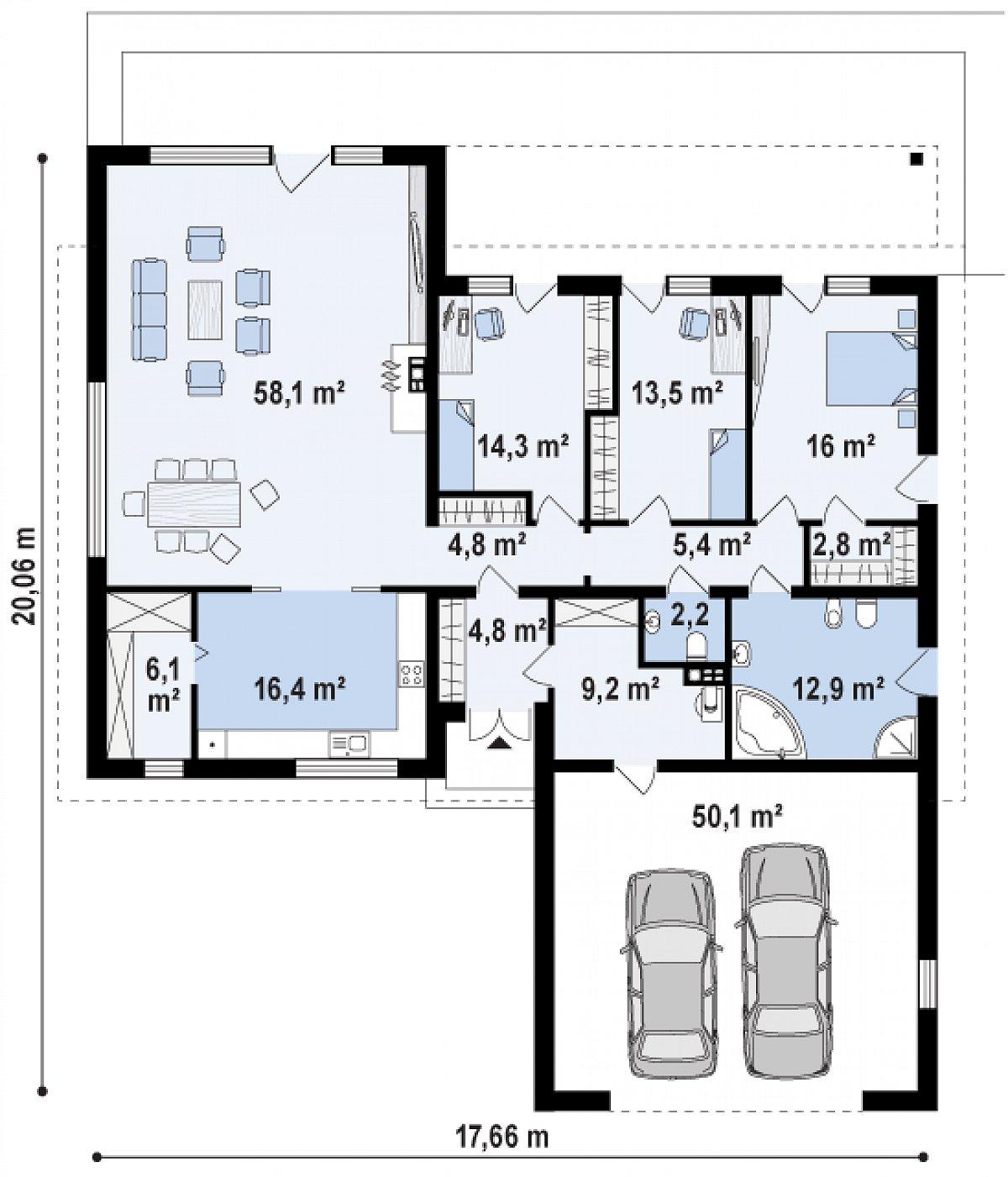 Первый этаж 156,1(206,2м²) дома Z312