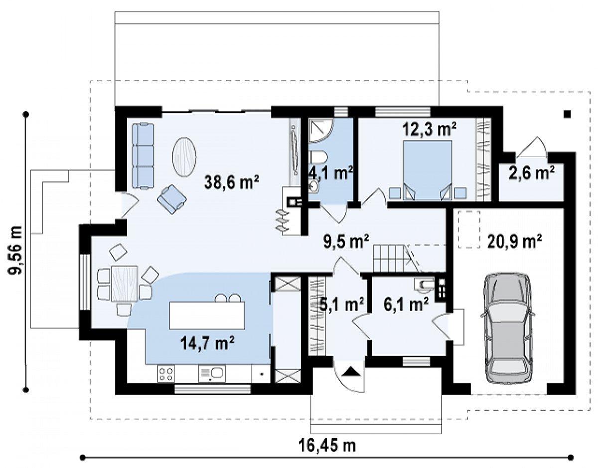 Первый этаж 84,5(114,1м²) дома Z318