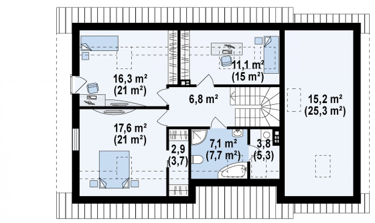 Второй этаж 65,6(79,4м²) дома Z318