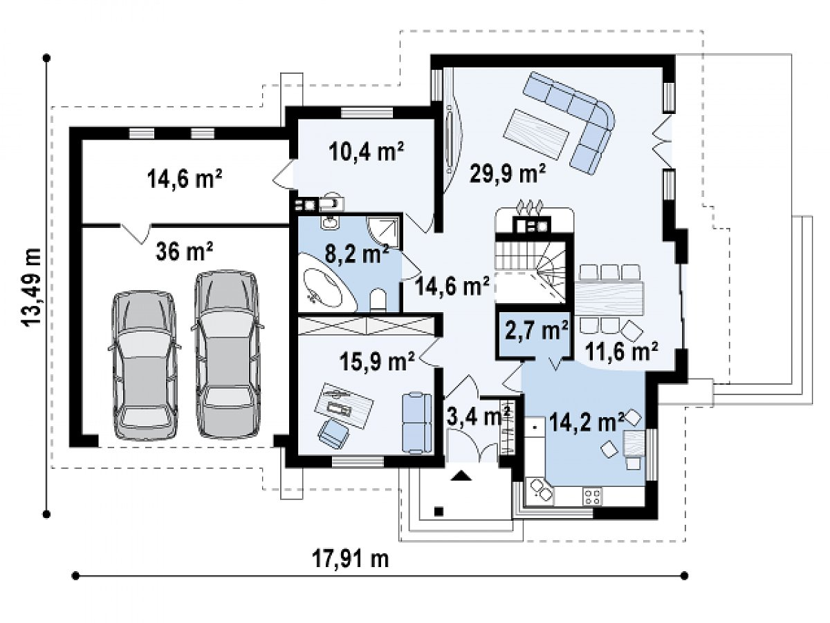 Первый этаж 110,9(161,5м²) дома Z31
