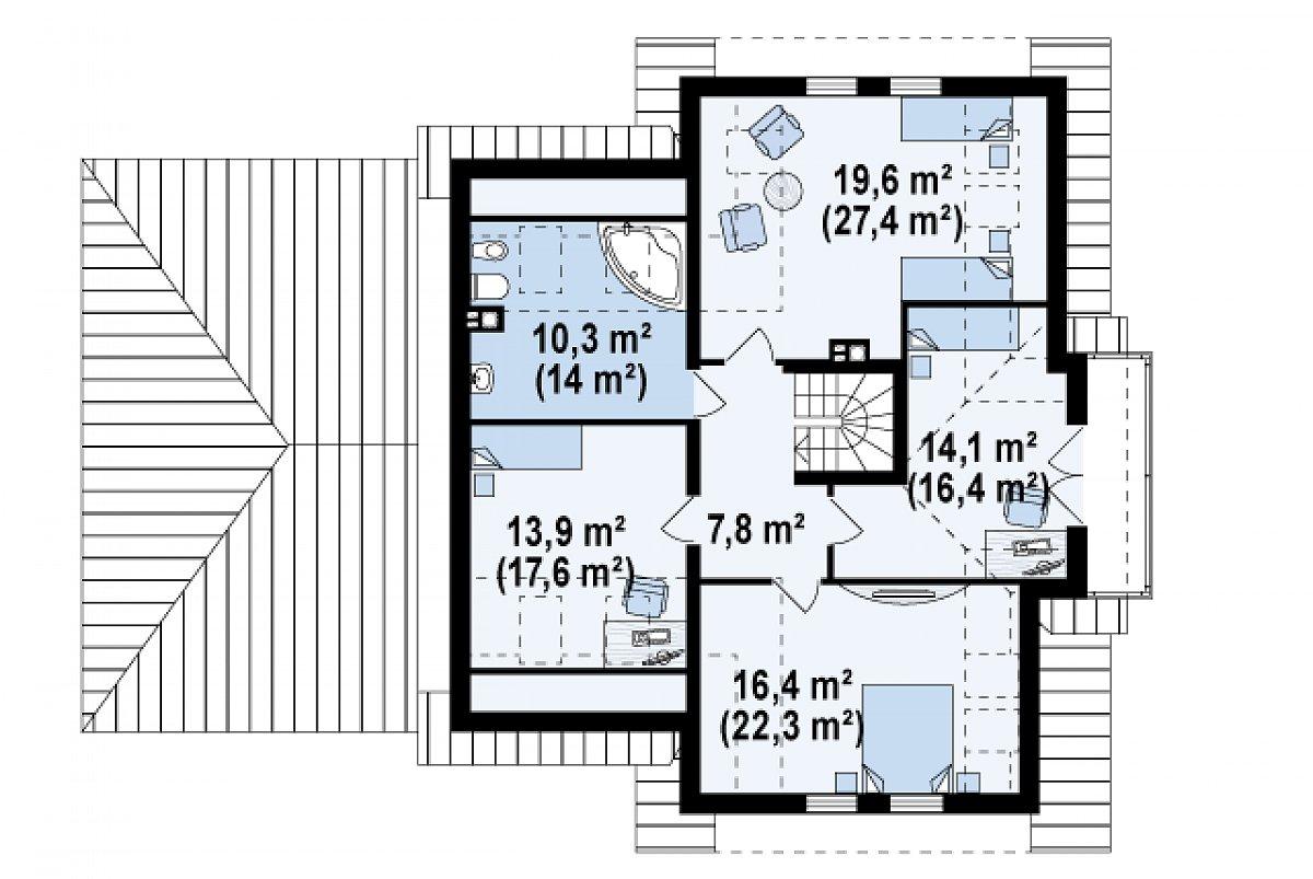 Второй этаж 82,1(105,4м²) дома Z31