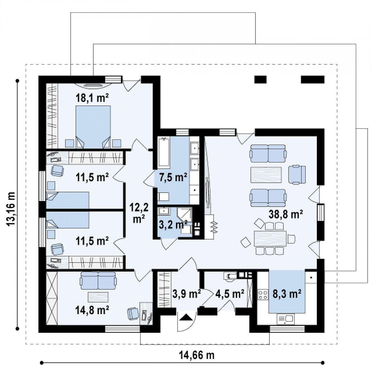 Первый этаж 134,4м² дома Z321