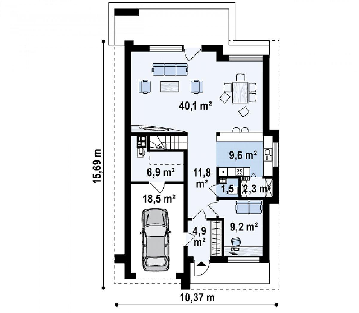 Первый этаж 79,4(104,8м²) дома Z324