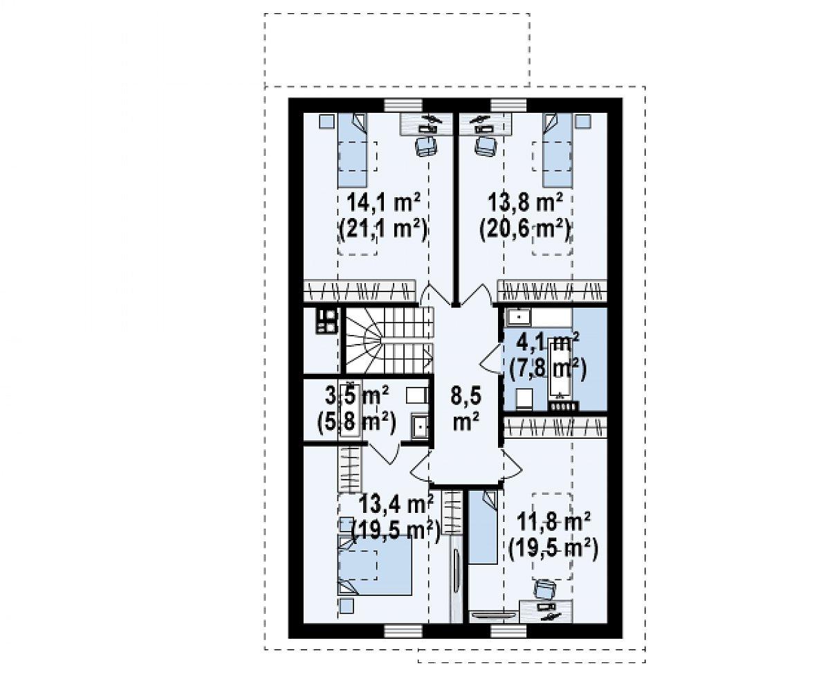 Второй этаж 69,2(102,8м²) дома Z324