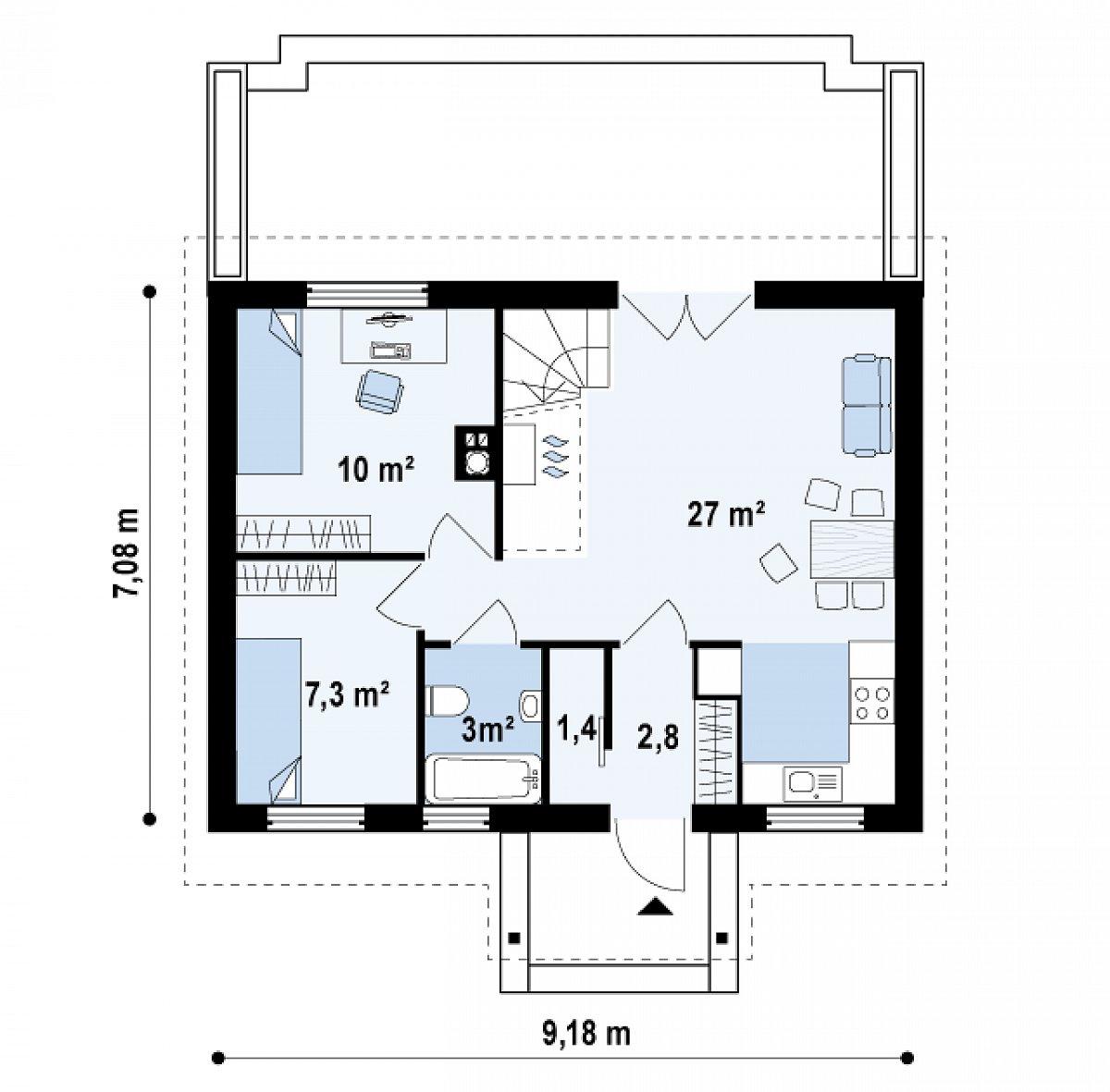 Первый этаж 51,5м² дома Z32