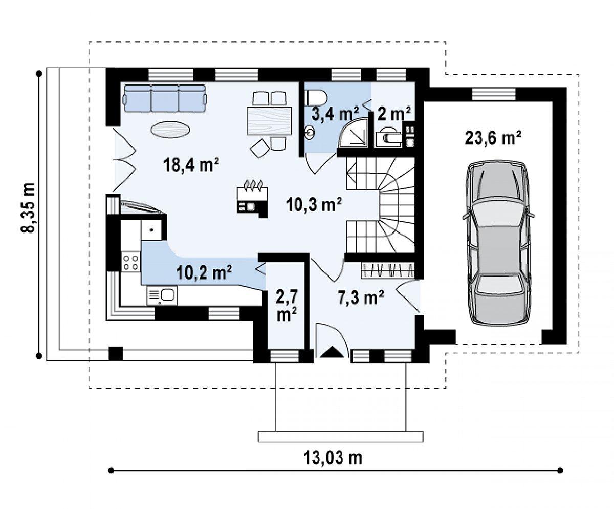 Первый этаж 54,3(77,9м²) дома Z33