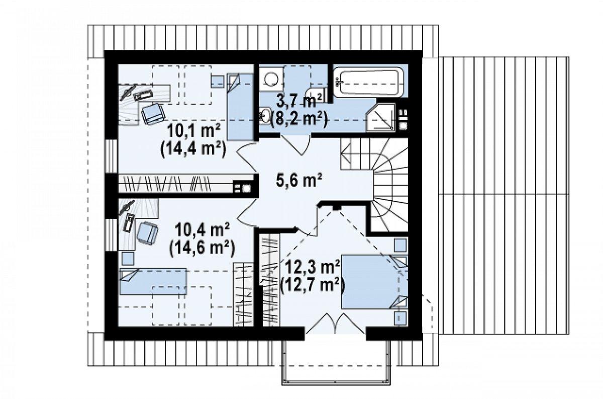 Второй этаж 42,1(55,5м²) дома Z33