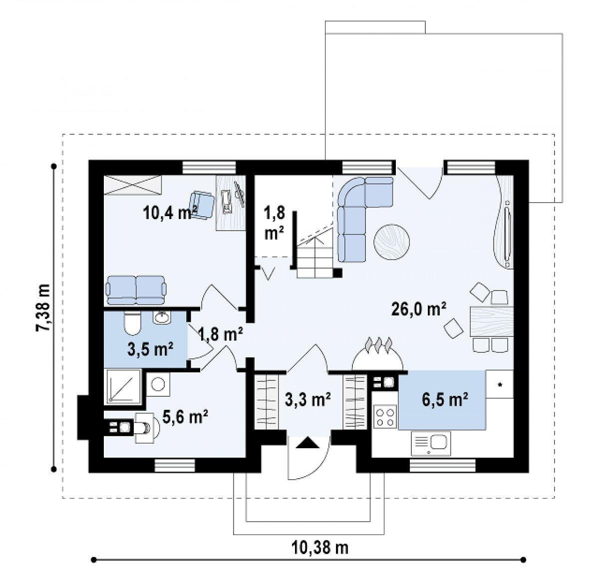 Первый этаж 58,9м² дома Z34