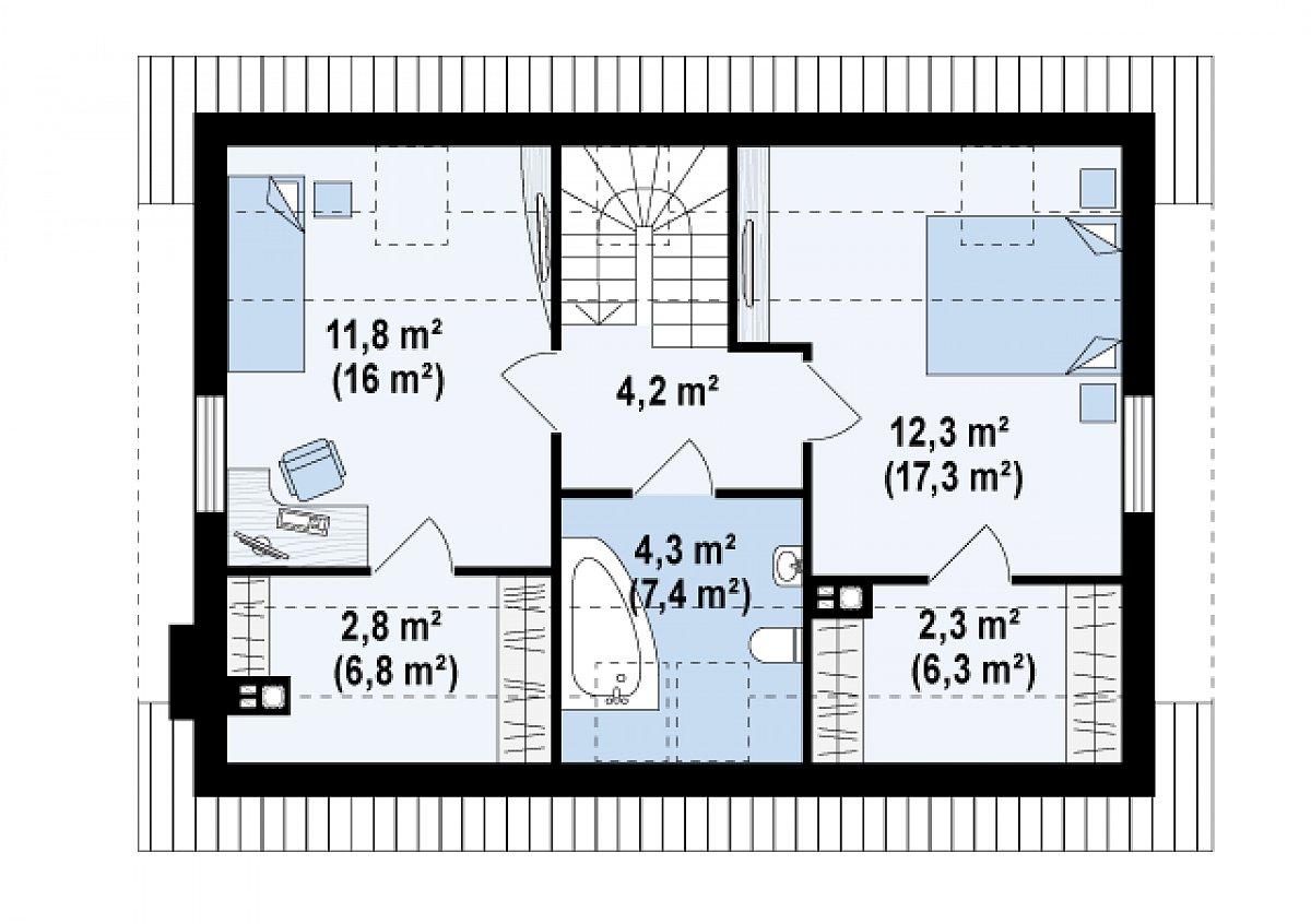 Второй этаж 37,6(57,9м²) дома Z34