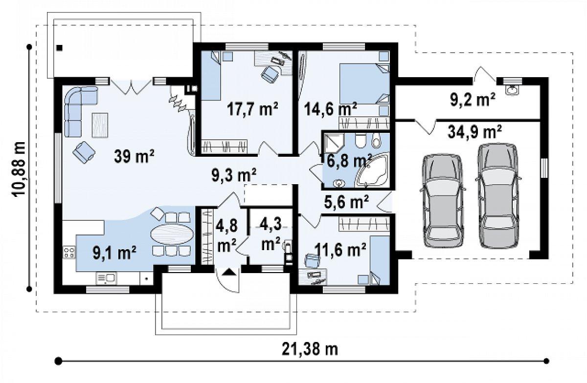 Первый этаж 122,8(166,8м²) дома Z35