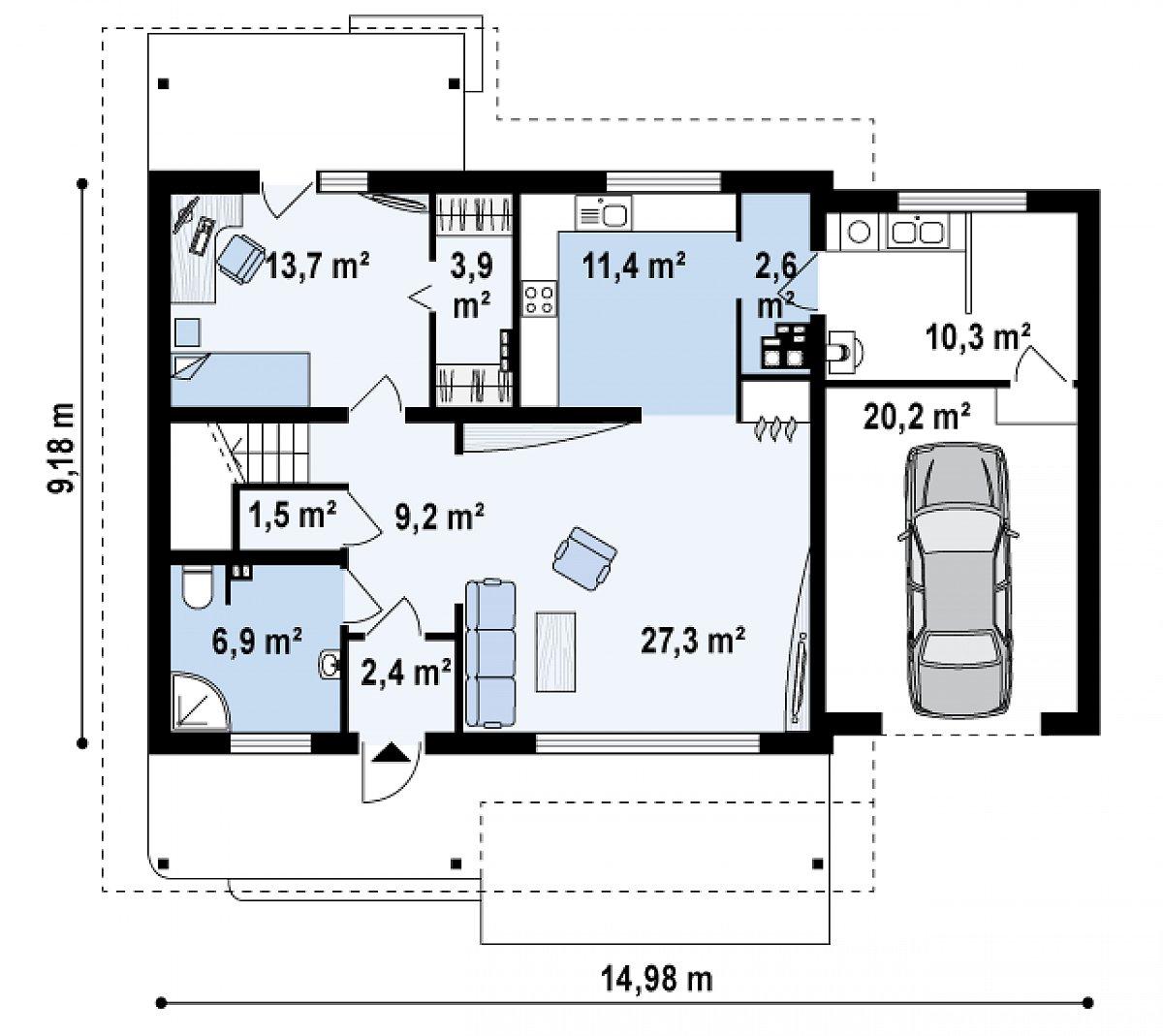 Первый этаж 78,8(109,3м²) дома Z36