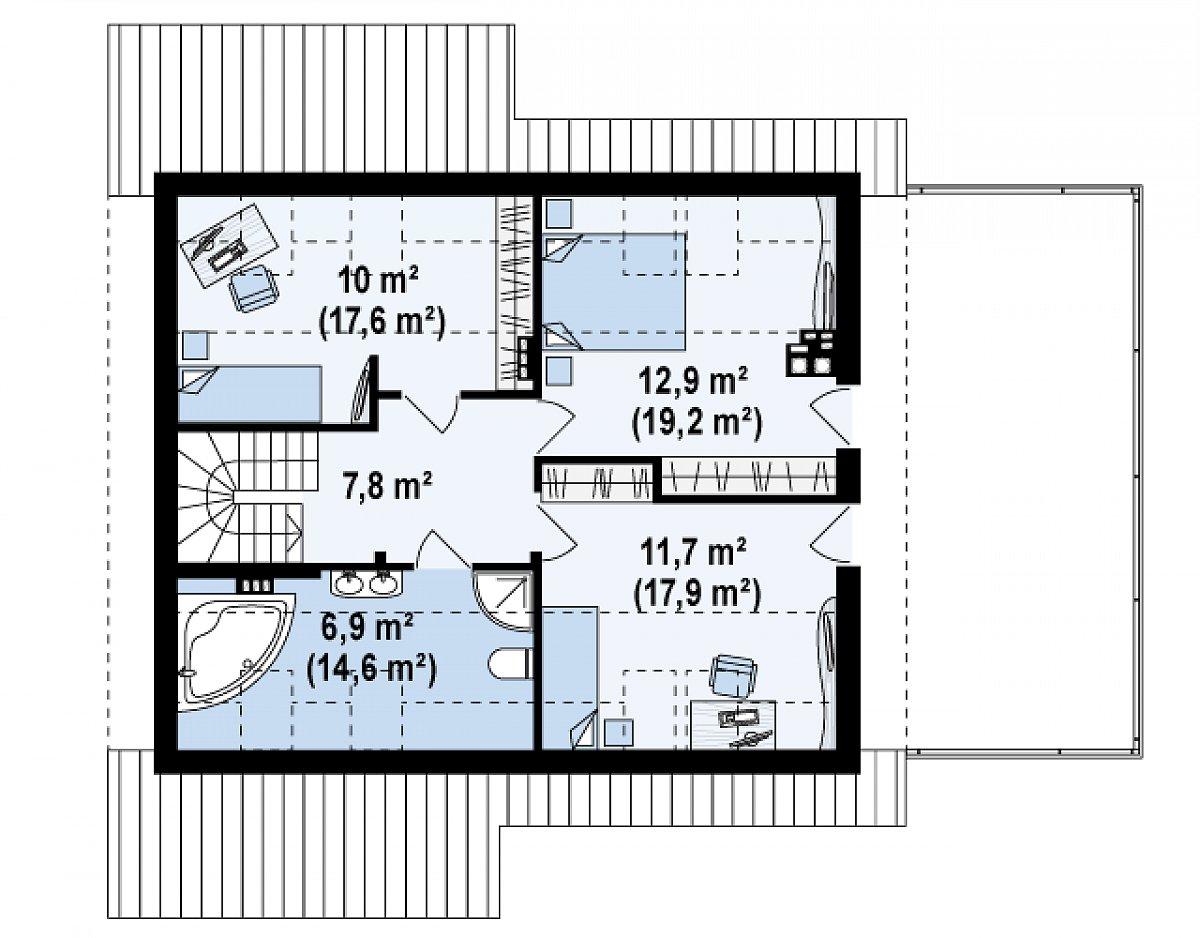 Второй этаж 49,3(77,1м²) дома Z36