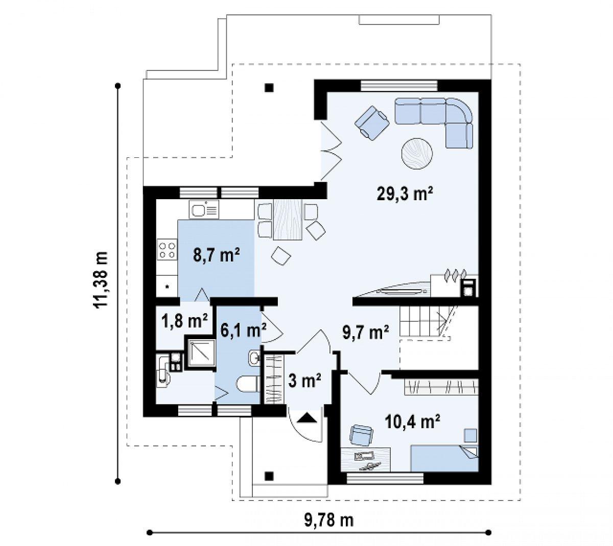 Первый этаж 69,1м² дома Z37