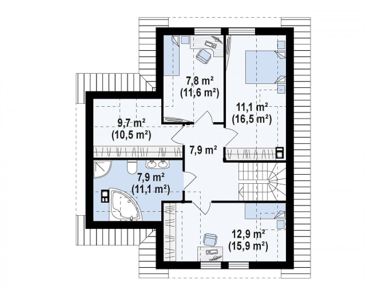 Второй этаж 52,8(73,5м²) дома Z37