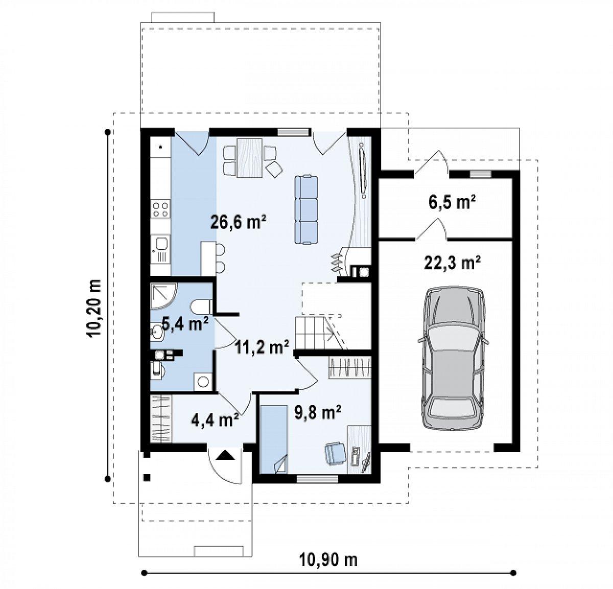 Первый этаж 86,0м² дома Z38 D L GP