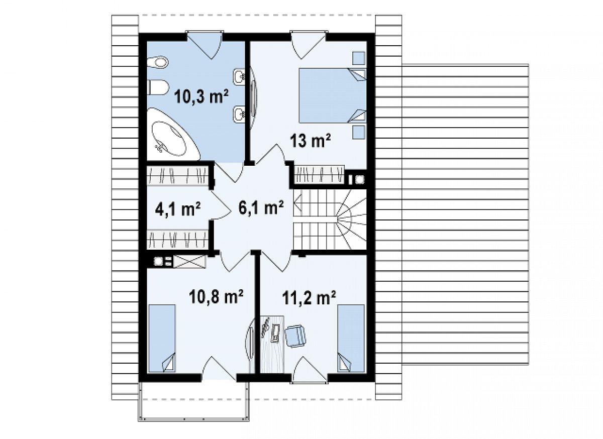 Второй этаж 55,5м² дома Z38 D L GP