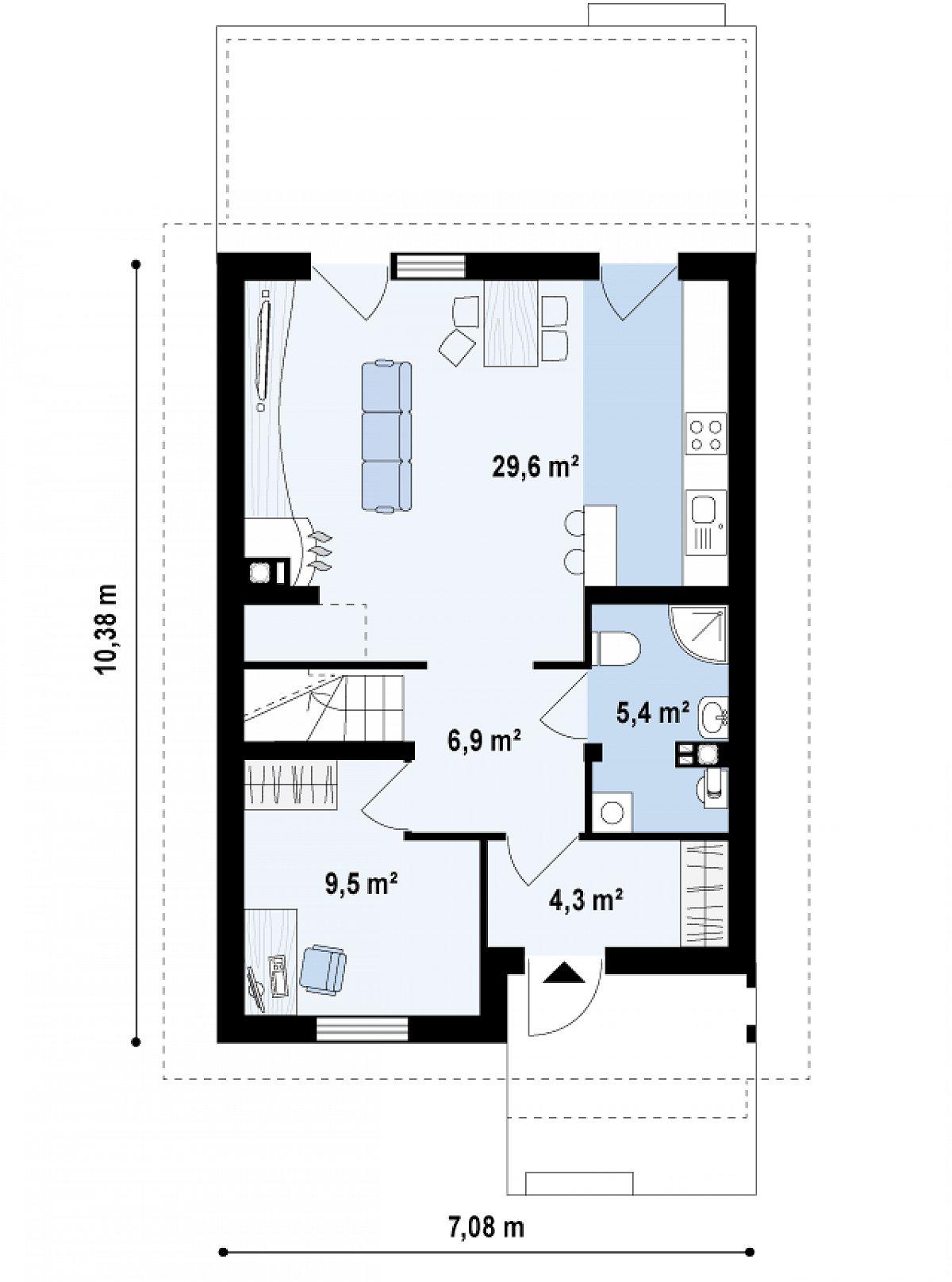 Первый этаж 55,6м² дома Z38