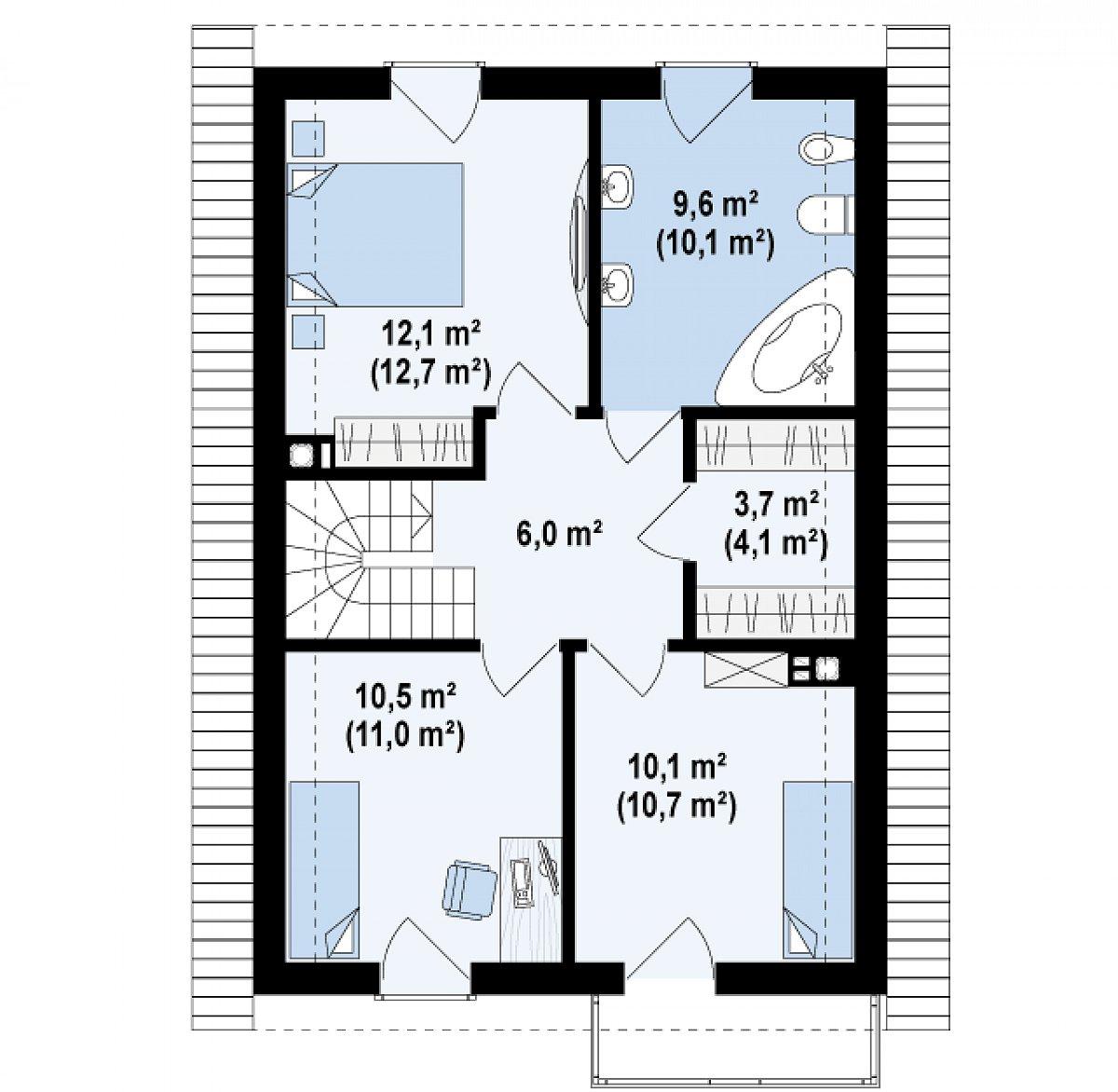 Второй этаж 51,9(54,6м²) дома Z38