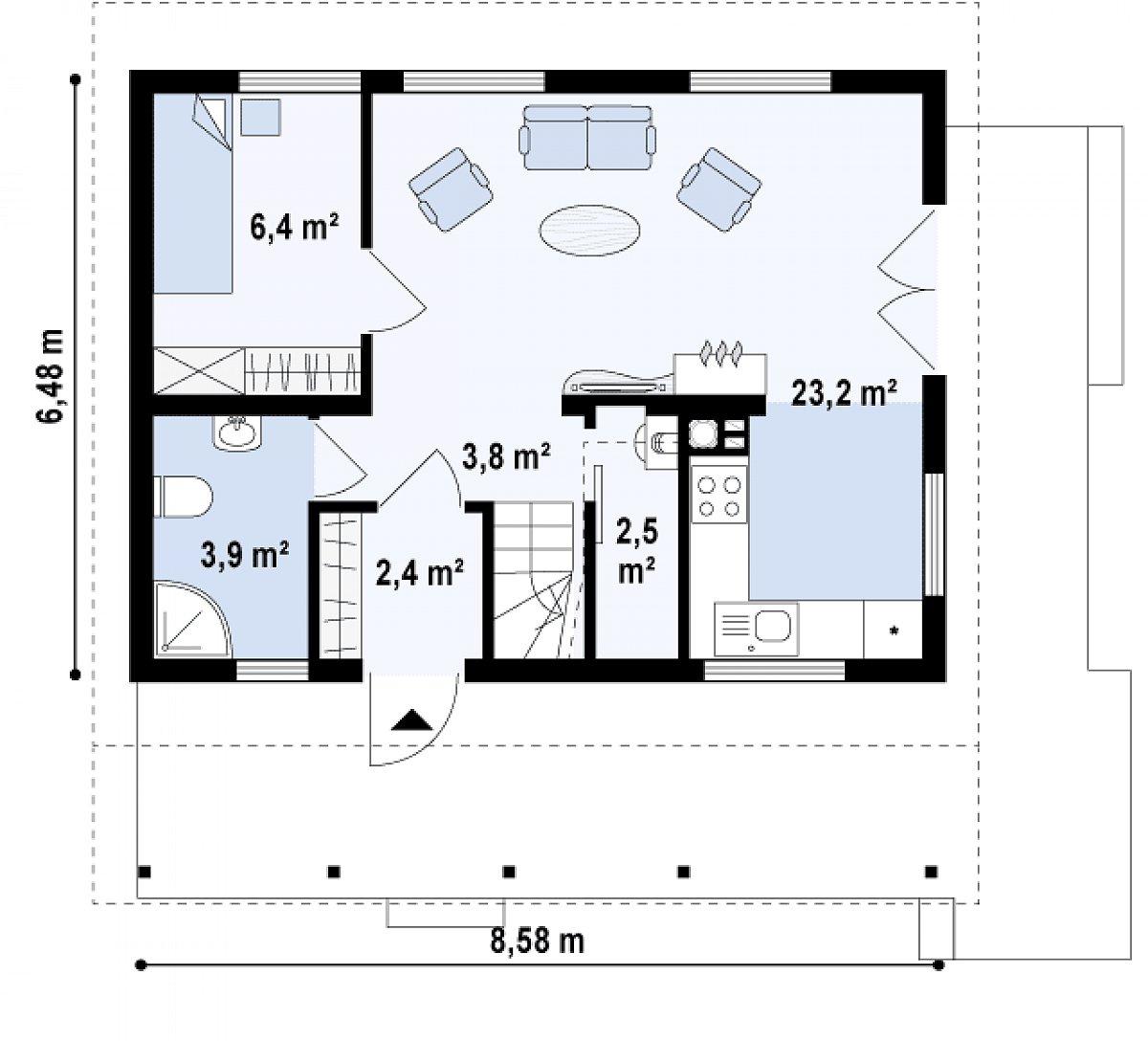 Первый этаж 42,9м² дома Z39